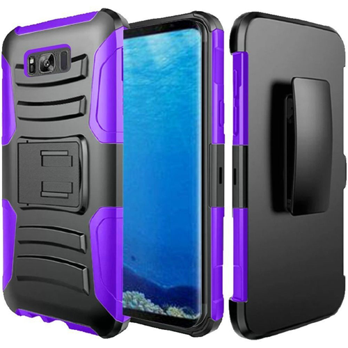 Insten Hard Dual Layer Silicone Cover Case w/stand/Holster For Samsung Galaxy S8, Black/Purple