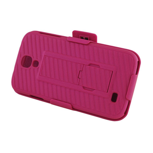 Insten Hard Rubberized Case w/stand/Holster For Samsung Galaxy S4, Hot Pink