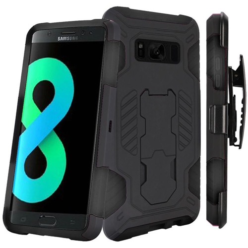Insten SuperCoil Hard Hybrid Plastic Case w/stand/Holster For Samsung Galaxy S8 Plus, Black