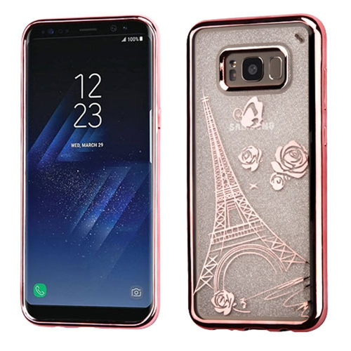 Insten Glitter Eiffel Tower TPU Transparent Case For Samsung Galaxy S8 Plus, Rose Gold