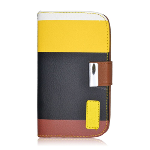 Insten Multicolor Book-Style Leather Fabric Case w/card holder For Samsung Galaxy S4, Black/Yellow