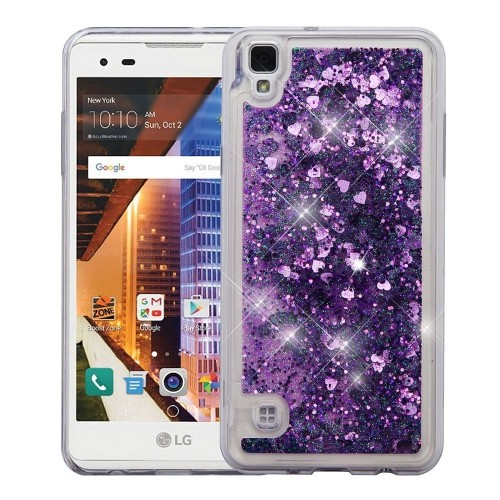 Insten Quicksand Hearts Hard Plastic TPU Cover Case For LG Tribute HD, Purple