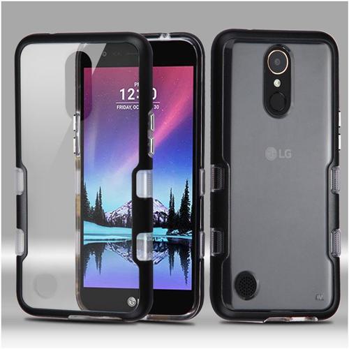 Insten Tuff Hard Hybrid Metallic TPU Case For LG Harmony/K10 (2017)/K20 Plus/K20 V, Black/Clear