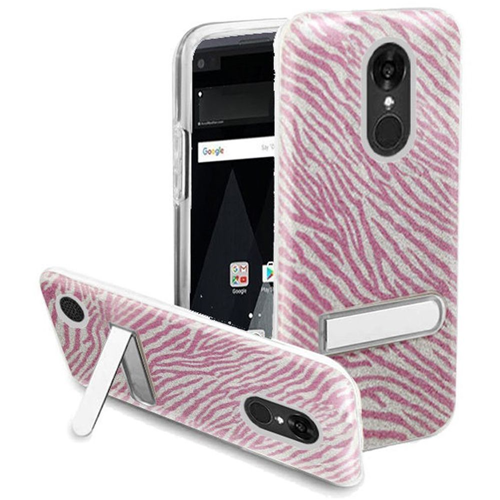 Insten Zebra Hard Glitter TPU Case w/stand For LG Aristo/K8 (2017), Hot Pink