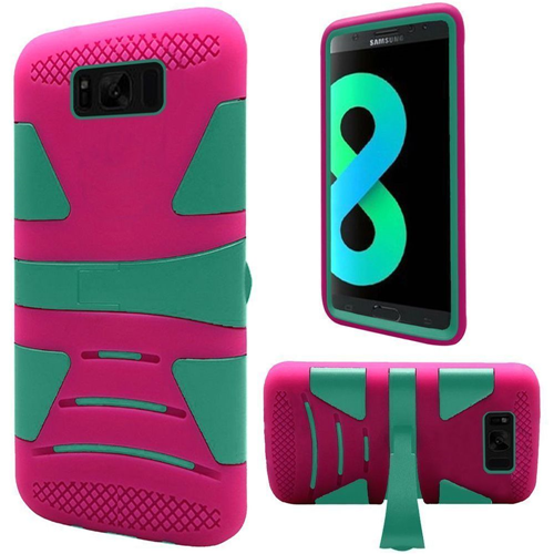 Insten Hard Hybrid Plastic TPU Case w/stand For Samsung Galaxy S8 Plus, Teal/Hot Pink