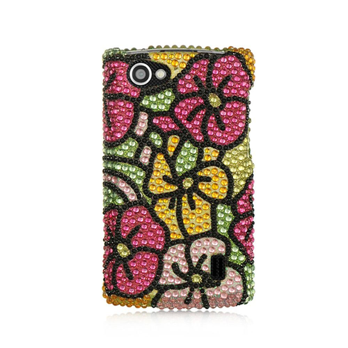 Insten Hawaii Flower Hard Bling Case For LG Optimus M+, Colorful