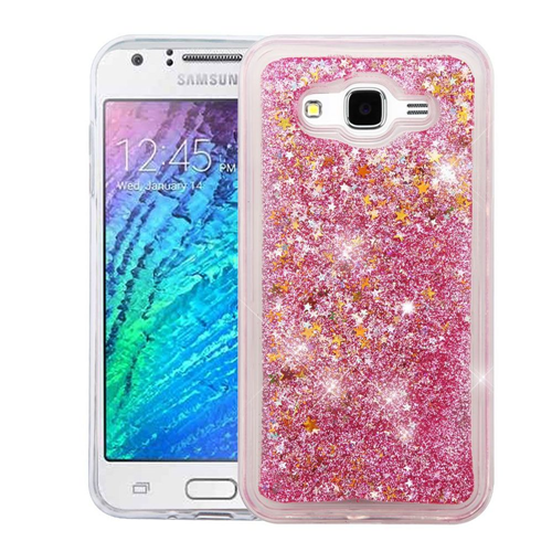 Insten Quicksand Stars Hard Glitter Case For Samsung Galaxy J7 (2015), Pink