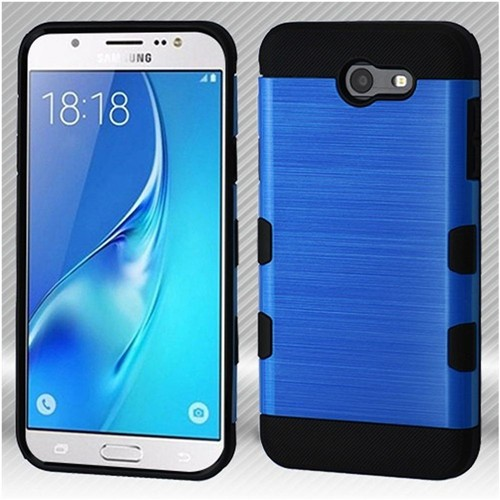Insten Hard Hybrid Brushed TPU Case For Samsung Galaxy J7 (2017)/J7 Perx/J7 Sky Pro/J7 V, Blue/Black