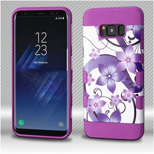Insten Hibiscus Flower Romance Hard Silicone Case For Samsung Galaxy S8 Plus, Purple/White