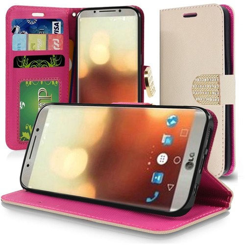 Insten Folio Leather Fabric Case Lanyard w/stand/card slot/Diamond For LG G6, Rose Gold