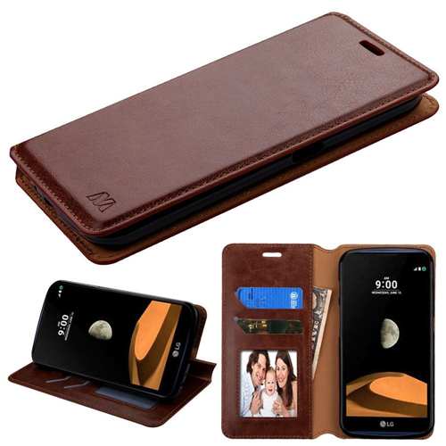 Insten Flip Leather Fabric Cover Case w/stand/card slot/Photo Display For LG X Calibur, Brown