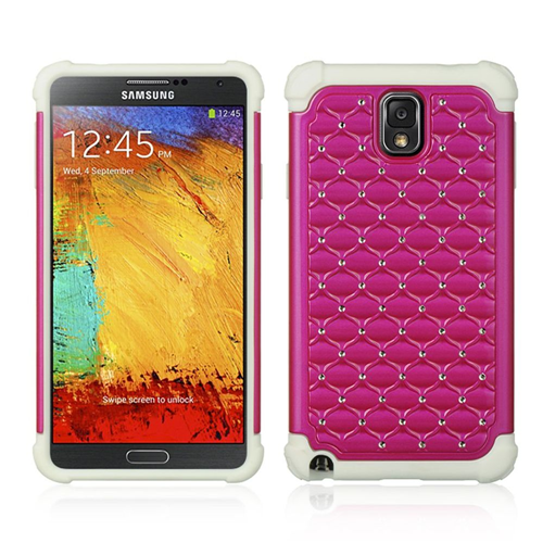 Insten Hard Dual Layer Plastic Silicone Case w/Diamond For Samsung Galaxy Note 3, Hot Pink/White
