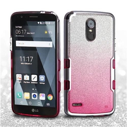 Insten Tuff Hard Hybrid Glitter TPU Case For LG Stylo 3, Pink/Silver