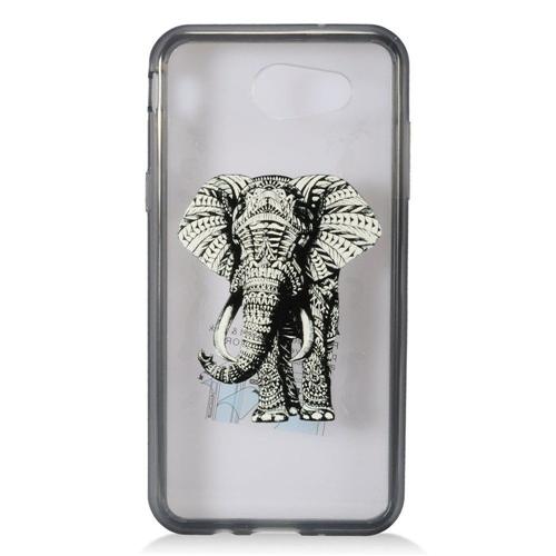 Insten Elephant Hard Plastic TPU Case For Samsung Galaxy Amp Prime 2/J3 (2017), Clear/Black