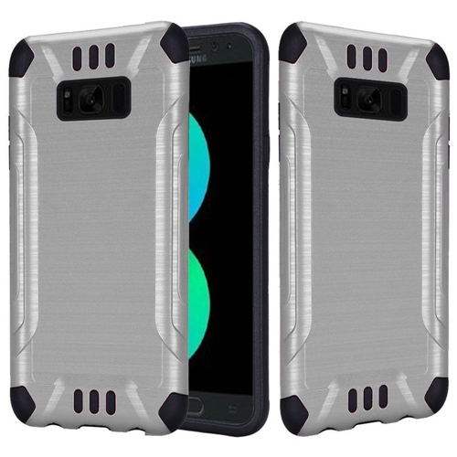 Insten Hard Dual Layer Brushed TPU Case For Samsung Galaxy S8 Plus, Silver/Black