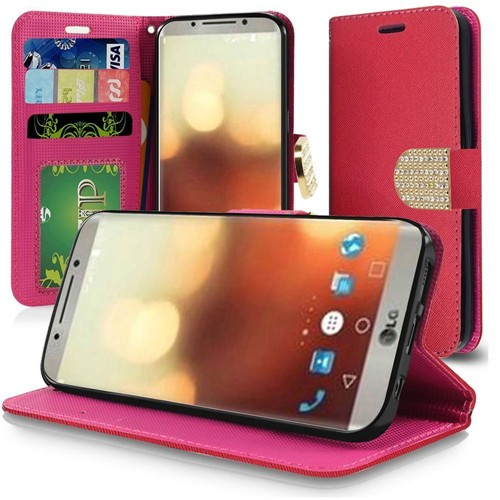 Insten Folio Leather Fabric Cover Case Lanyard w/stand/card slot/Diamond For LG G6, Red