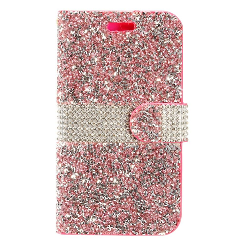 Insten Book-Style Leather Diamond Cover Case w/card holder For LG Stylo 3, Hot Pink/Silver