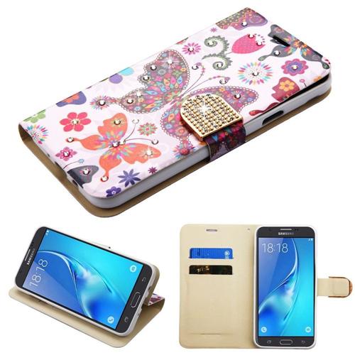 Insten Butterfly Folio Leather Case For Samsung Galaxy J7 (2017)/J7 Perx/J7 Sky Pro/J7 V, MultiColor