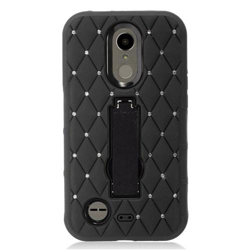 Insten Hard Rubber Case w/stand/Diamond For LG Harmony/K10 (2017)/K20 Plus/K20 V, Black