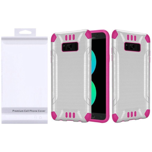 Insten Slim Armor Hard Hybrid Brushed TPU Cover Case For Samsung Galaxy S8 Plus, White/Hot Pink