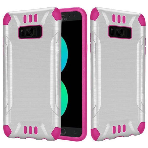 Insten Hard Hybrid Brushed TPU Case For Samsung Galaxy S8 Plus, White/Hot Pink