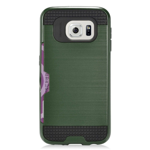 Insten Chrome Brushed Hard Cover Case w/card holder For Samsung Galaxy S7, Dark Green/Black