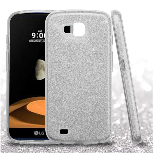 Insten Glitter Hard Dual Layer Plastic TPU Cover Case For LG V9/X Venture, Silver