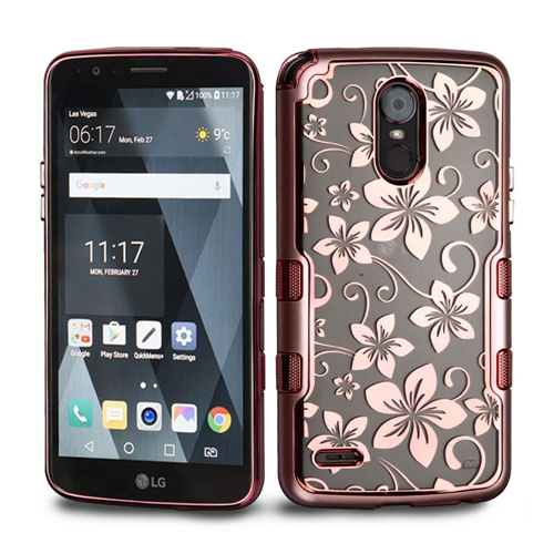 Insten Tuff Hibiscus Flower Hard Dual Layer Plastic TPU Case For LG Stylo 3 Plus, Rose Gold/Clear