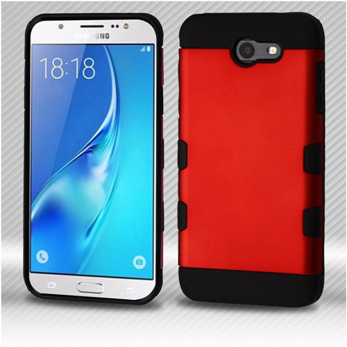 Insten Hard Metallic TPU Case For Samsung Galaxy J7 (2017)/J7 Perx/J7 Sky Pro/J7 V, Red/Black