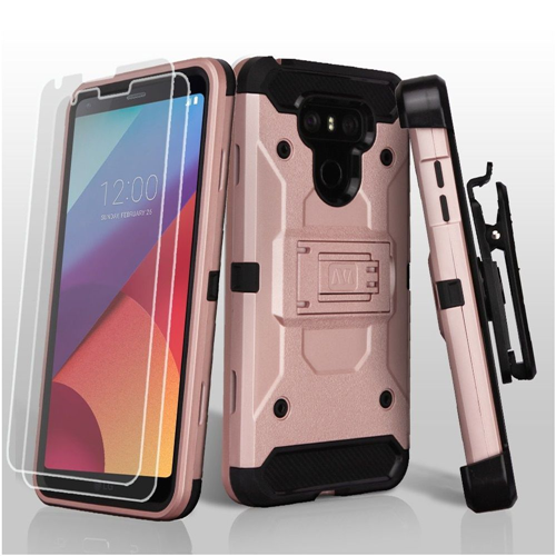 Insten Kinetic Hard Hybrid Plastic TPU Case w/stand/Holster/Bundled For LG G6, Rose Gold/Black