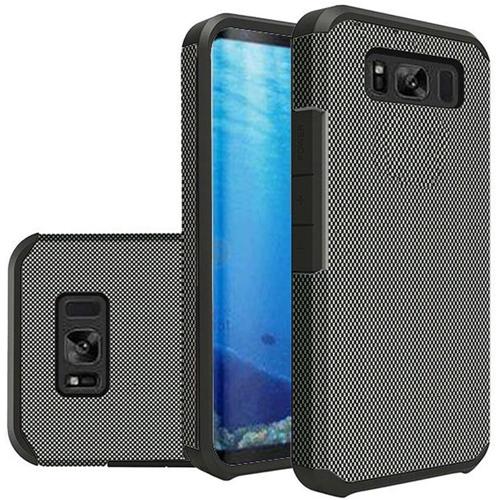 Insten Slim Carbon Fiber Hard Hybrid Plastic TPU Cover Case For Samsung Galaxy S8, Black