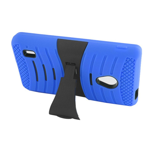 Insten Wave Symbiosis Rubber Hard Cover Case w/stand For LG Lucid 2 VS870, Blue/Black