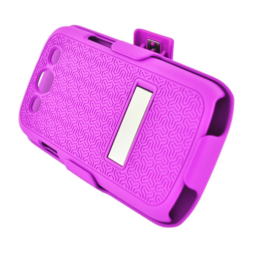 Insten Hard Rubber Case w/stand/Holster For Samsung Galaxy S3, Hot Pink