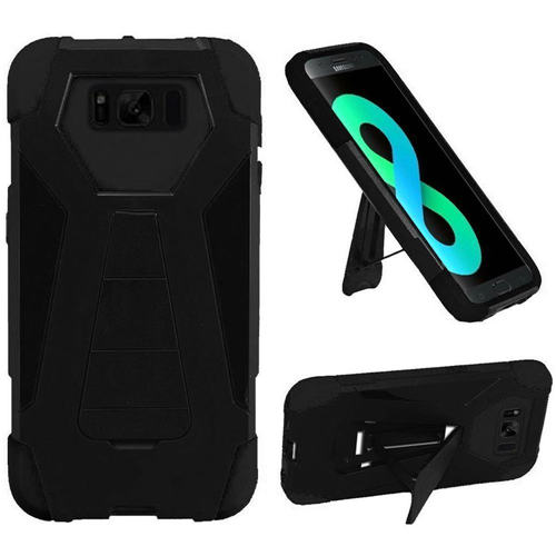 Insten T-Stand Hard Hybrid Rubber Coated Silicone Case w/stand For Samsung Galaxy S8 Plus, Black