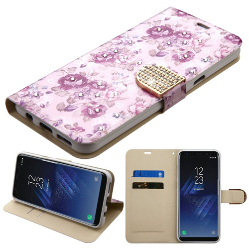 Insten Fresh Flowers Flip Leather Fabric Case w/stand/Diamond For Samsung Galaxy S8, Purple