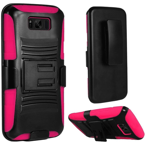 Insten Holster Case for Samsung Galaxy S8 Plus - Hot Pink;Black