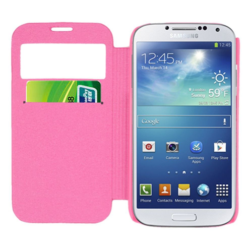 Insten Folio Leather Fabric Cover Case w/card holder For Samsung Galaxy S4, Pink