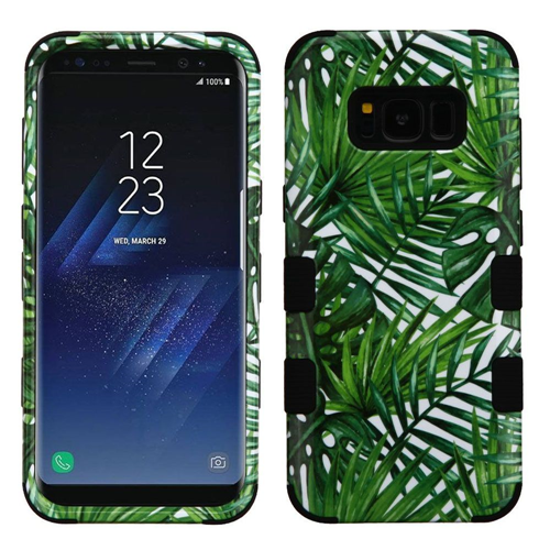 Insten Tuff Tropical Palms Hard Dual Layer Plastic TPU Case For Samsung Galaxy S8 Plus, Green