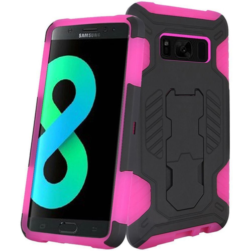 Insten SuperCoil Hard Dual Layer Plastic Case w/stand For Samsung Galaxy S8 Plus, Black/Hot Pink