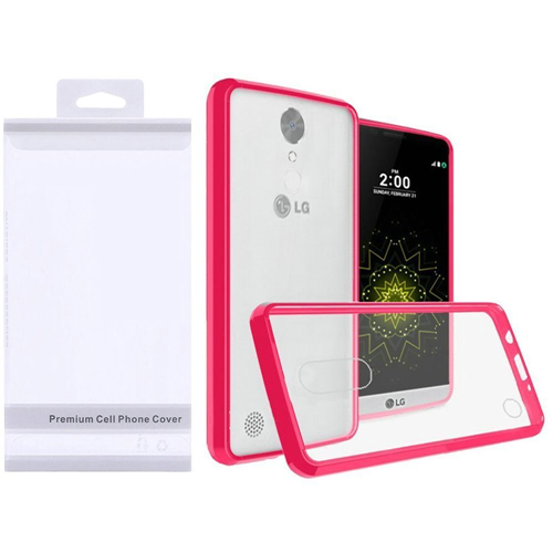 Insten Hard Plastic TPU Cover Case For LG Grace 4G/Harmony/K20 Plus/K20 V, Clear/Hot Pink