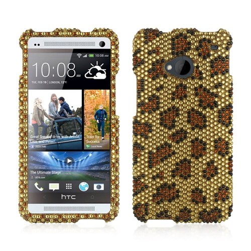 Insten Leopard Hard Bling Case For HTC One M7, Gold