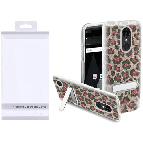 Insten Leopard Hard Glitter TPU Cover Case w/stand For LG Aristo/K8 (2017), Pink