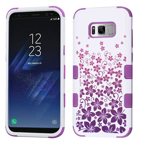 Insten Rising Hibiscus Hard Rubber Coated Silicone Case For Samsung Galaxy S8, White/Purple