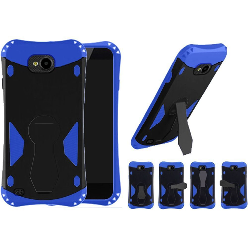 Insten 360 Rotation Hard Dual Layer Plastic TPU Case w/stand For LG X Venture, Black/Blue