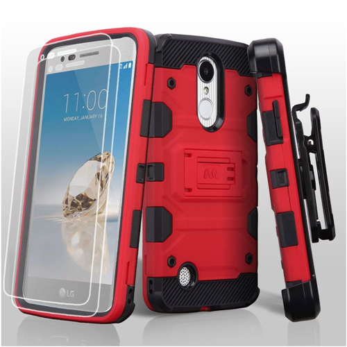 Insten Tank Hard TPU Case w/stand For LG Aristo/Fortune/K4 (2017)/K8 (2017)/LV3/Phoenix 3, Red/Black