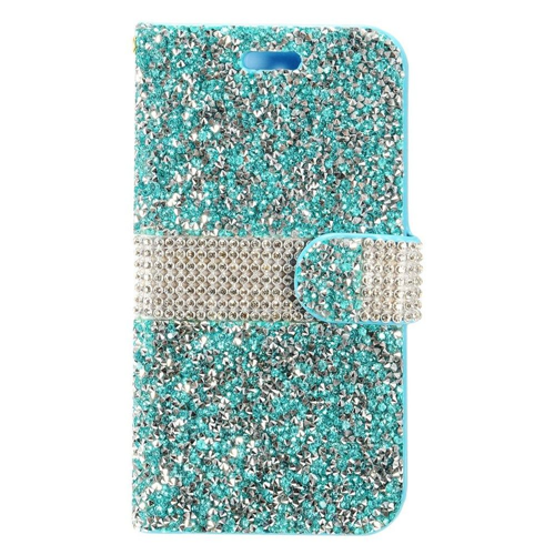 Insten Folio Leather Rhinestone Case w/card slot For Samsung Galaxy S8, Blue/Silver