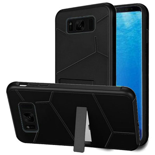 Insten Hard Dual Layer Plastic TPU Cover Case w/stand For Samsung Galaxy S8, Black