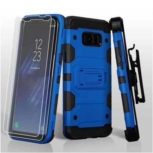 Insten Storm Tank Hard 3 TPU Case w/stand/Holster For Samsung Galaxy S8, Blue/Black