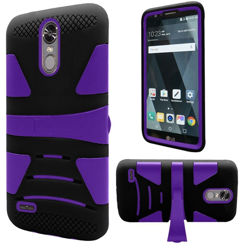 Insten Hard Dual Layer TPU Cover Case w/stand For LG Stylo 3, Black/Purple