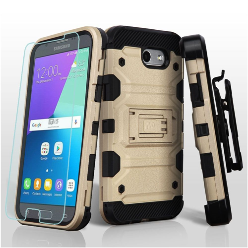Insten Tank Hard Case For Samsung Galaxy Amp Prime 2/Express Prime 2/J3 (2017)/J3 Emerge, Gold/Black